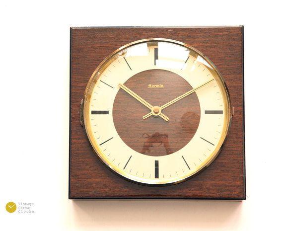 Mid Century HERMLE Wall Clock - 60s Modern Art Deco Danish Wood Zentra meander Germany mcm - Wanduhr