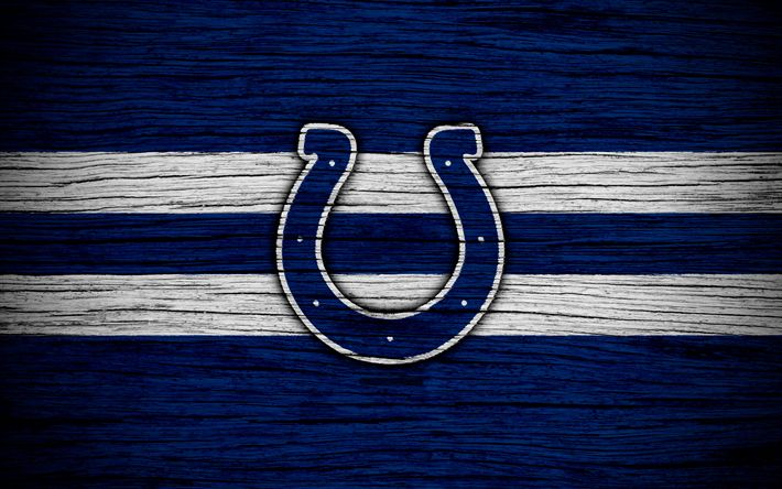 Download wallpapers Indianapolis Colts, NFL, American Conference, 4k, wooden texture, american football, logo, emblem, Indianapolis, Indiana, USA, National Football League