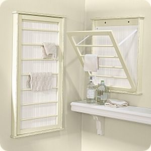 """How to Build a Laundry Room Drying Rack:    Supplies:    2 x 2' precut birch (1/2 inch thick)  Two 1/2 x 2"""" poplar boards  Two 3/8"""" dowel rods (48"""" long)  Sash lock  Narrow loose pin hinges (set of two)  D ring hangers for mounting on wall  Bracketed hinge for side (or chain with small screw eyes)  Three white porcelain knobs  Primer and paint of choice: Old Cribs, Idea, Laundry Rooms, Clothing Dry Racks, Diy, Utility Rooms, Spaces Savers, Ballard Design, Drying Racks"""