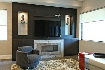 Black Feature Wall Modern Family Room