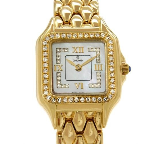 #Vintage Watch - #Concord 18K Yellow #Gold Mother of #Pearl and #Diamond #Ladies #Preowned #Watch