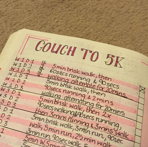 This lovely tracker that might actually make you finish Couch to 5K this time: | 29 Bullet Journal Layouts For Anyone Trying To Be Healthy