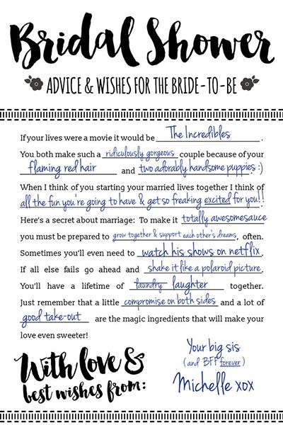 Or ask for guests' tips Mad Libs-style using this interactive card fromConfetti Daydreams. It'll help bring out everyone's silly sides, and you'll enjoy reading all of the responses afterward.Download the free printable here ►
