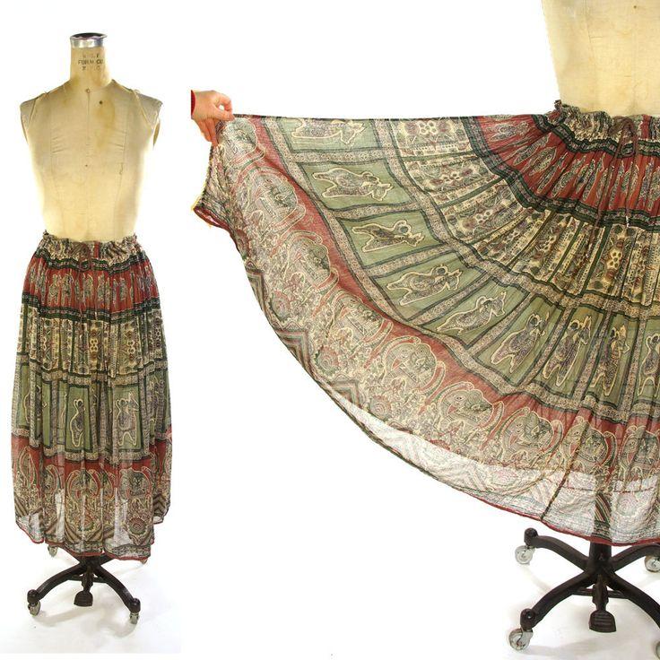 Vintage Indian Cotton Gauze Maxi Skirt / Sheer Drawstring Circle Skirt with Bells / Elephant / Horse / Floral Print / Medium Large by SpunkVintage
