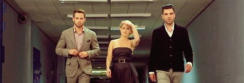 Chris Pine, Alice Eve, and Zachary Quinto gif