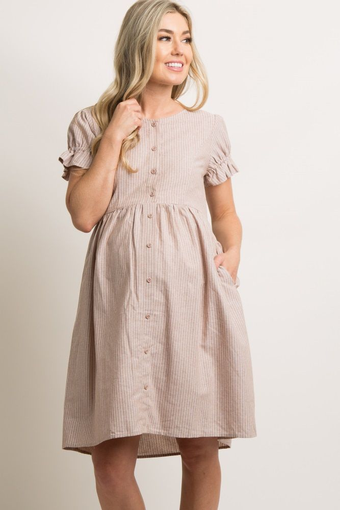 1830a70c2f859 Taupe Pinstriped Button Front Maternity Dress in 2019 |  Pregos/Nursing-breastfeeding/Mommy Fashion | Maternity dresses, Maternity  fashion, Button front ...