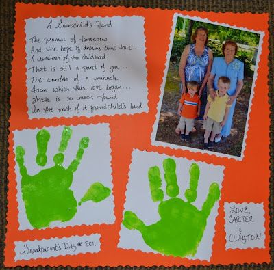 A Grandchild's Hand Poem for Grandma- My little boy did this for my mother this year for grand parents day so cute:)