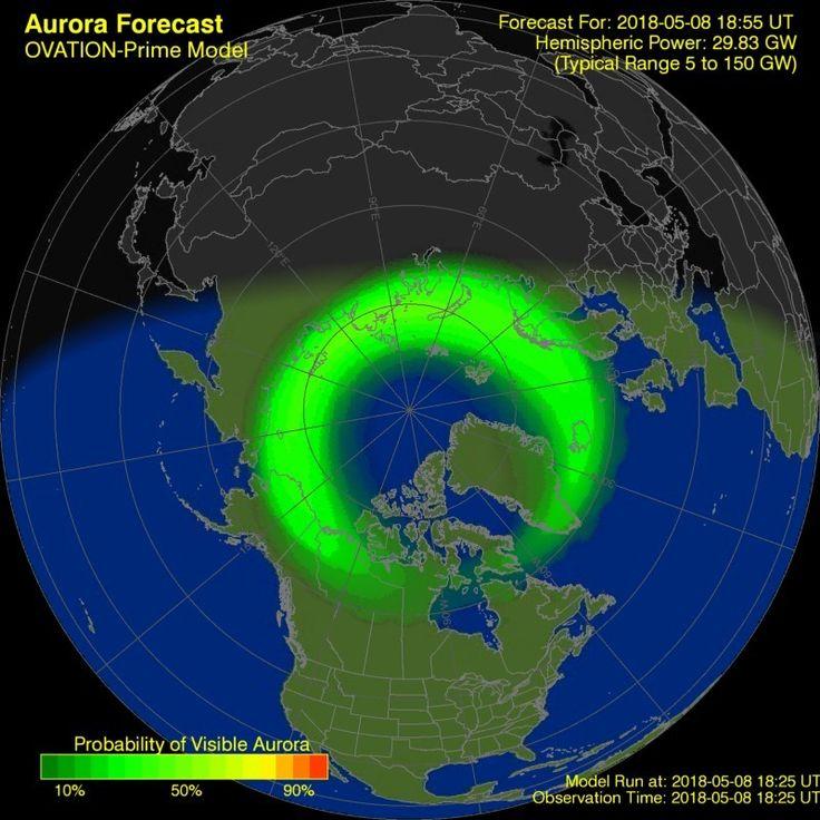 NOAA/POES model image Aurora forecast, Aurora borealis