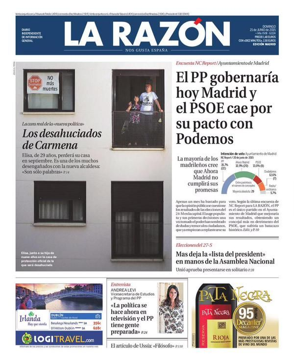 Portada de La Razón apenas unos días después de que Carmena llegara a la alcaldía de Madrid