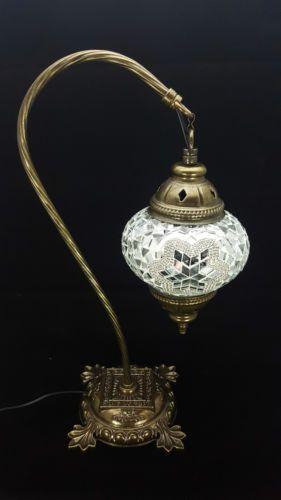 Unique-turco-LAMPADA-LAMPADA-MAROCCHINA-stile-Tiffany-vetro-scrivania-Lampada-da-tavolo-rrp-35