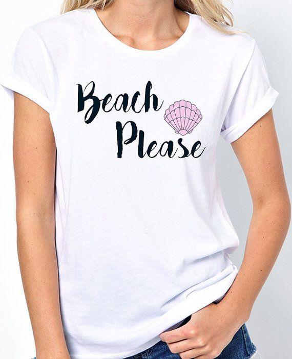 Ladies Beach Shirt that says Beach Please and a Pink Seashell. BadassPrinting.com