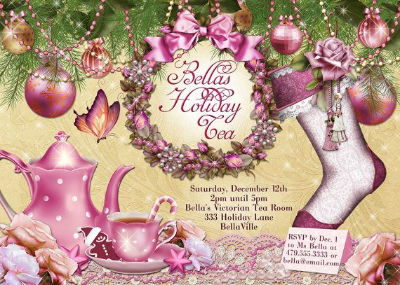 Victorian Christmas Tea Party Invitation Holiday by BellaLuElla, $13.00