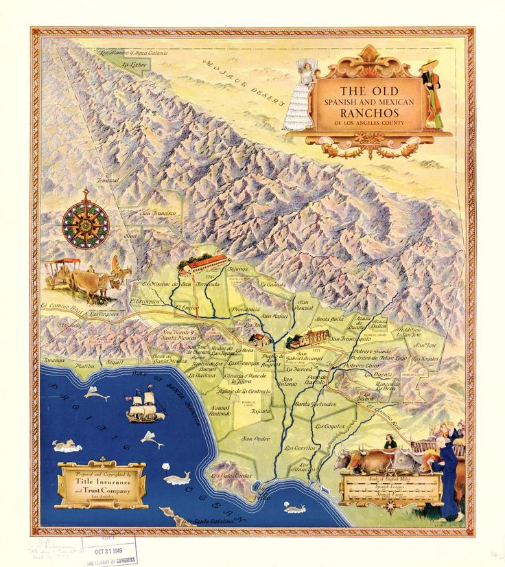 The Old Spanish And Mexican Ranchos Of Los Angeles County - United states map in spanish