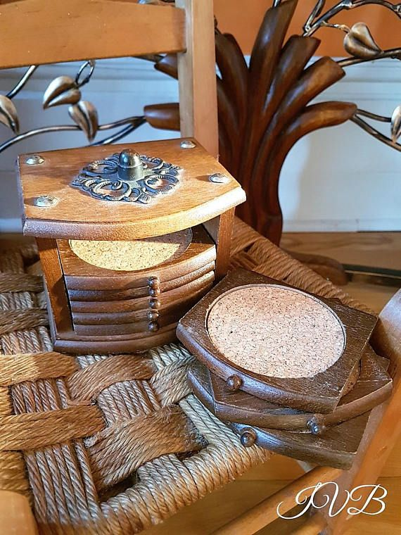 Vintage wooden coasters set in a case cork and wood coasters