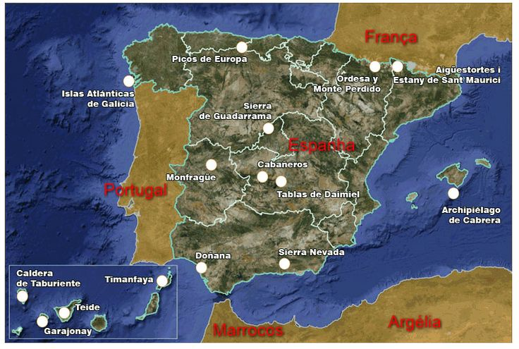 Mapas de Espanha, pagina com uma serie de mapas diferentes do Reino de Espanha com mapas geograficos, politicos, cidades.