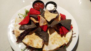 Appalachian Brewing Co.  SMOKY BEEF QUESADILLA Beer braised beef, melted Cheddar Jack cheese, black beans, chipotle sauce and fried onions. Served with cilantro lime sour cream…11 #Quesadilla