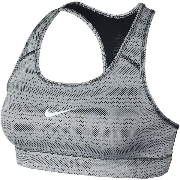 Nike Victory Compression Zig Dot Sports Bra ($28) ❤ liked on Polyvore featuring activewear, sports bras, nike sports bra, polka dot sports bra, nike sportswear, nike and compression sportswear