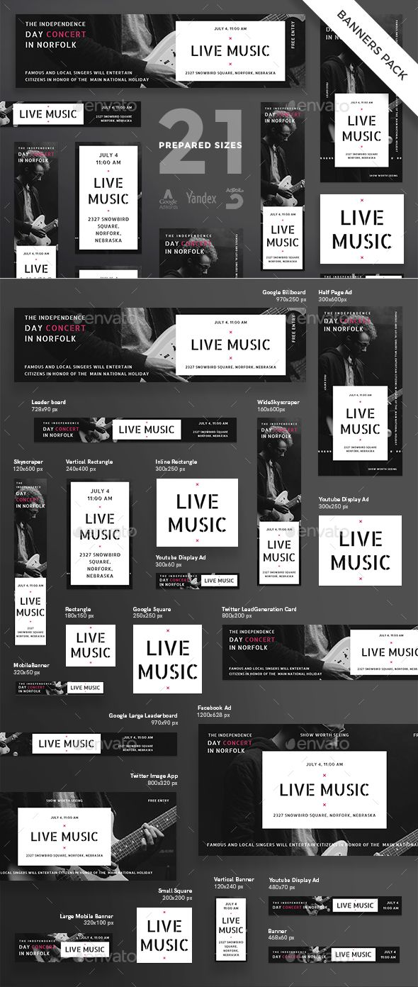 live music banner template psd vector eps web banners template