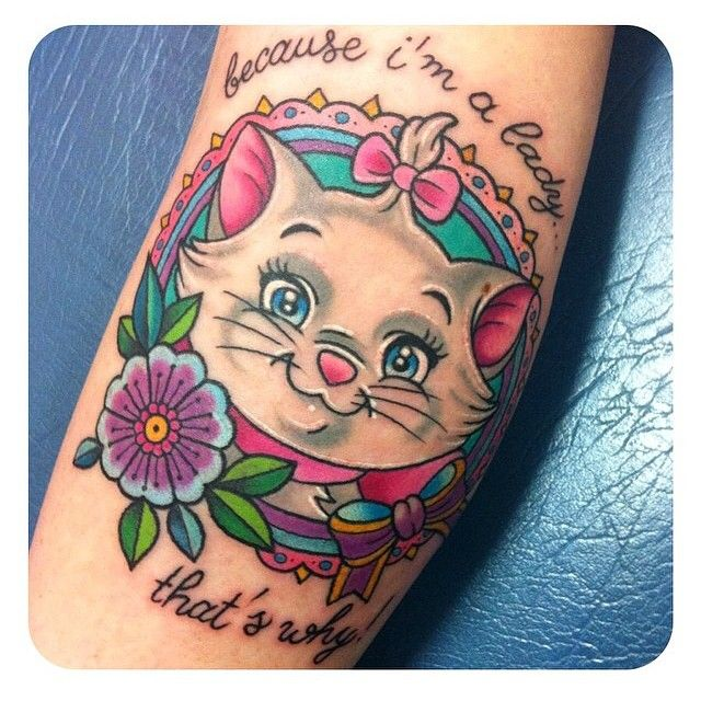 Marie from 'The Aristocats' done by @sarahktattoo  #inkeddisney