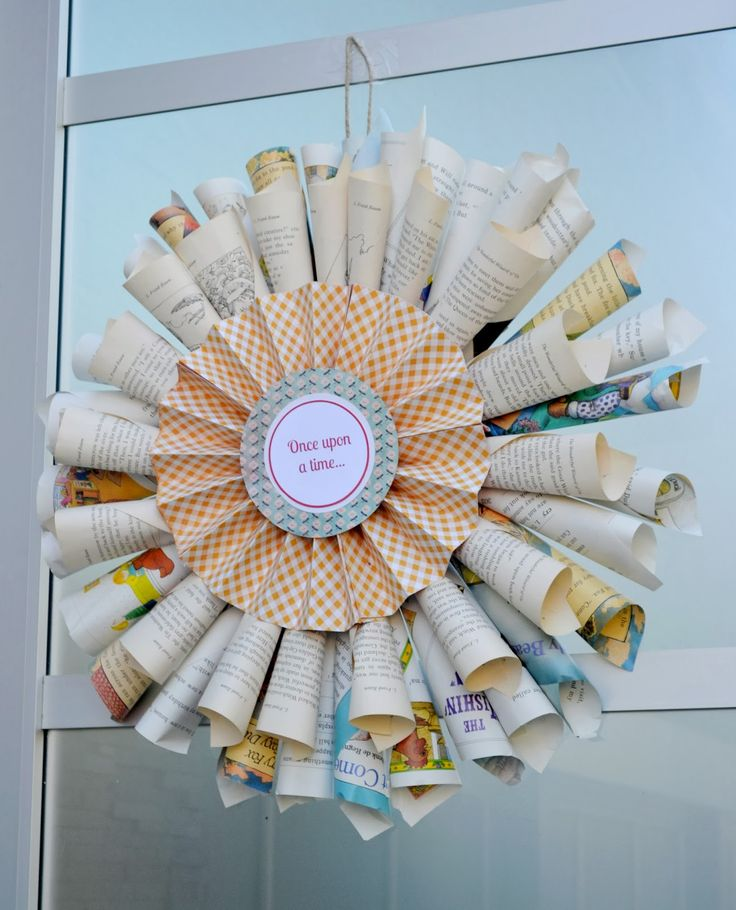 Book Page Wreath   Story Book Baby Shower