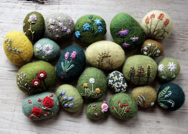 felted and embroidered wool stones - love these!