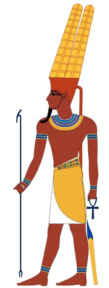 Amun depicted with a tall feather crown. Sky god.