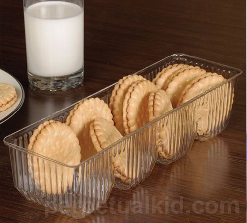 Best cookie plate ever... looks like the standard plastic cookie sleeve, but it's GLASS!! Too cool :)