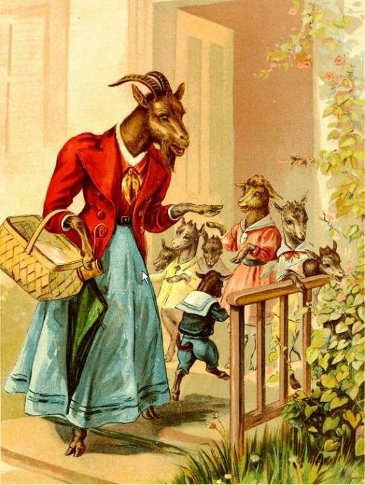 The Wolf and the Seven Little Kids- the prototype story of The Little Red Riding Hood. By Richard Andre, Archive.org, PD licence