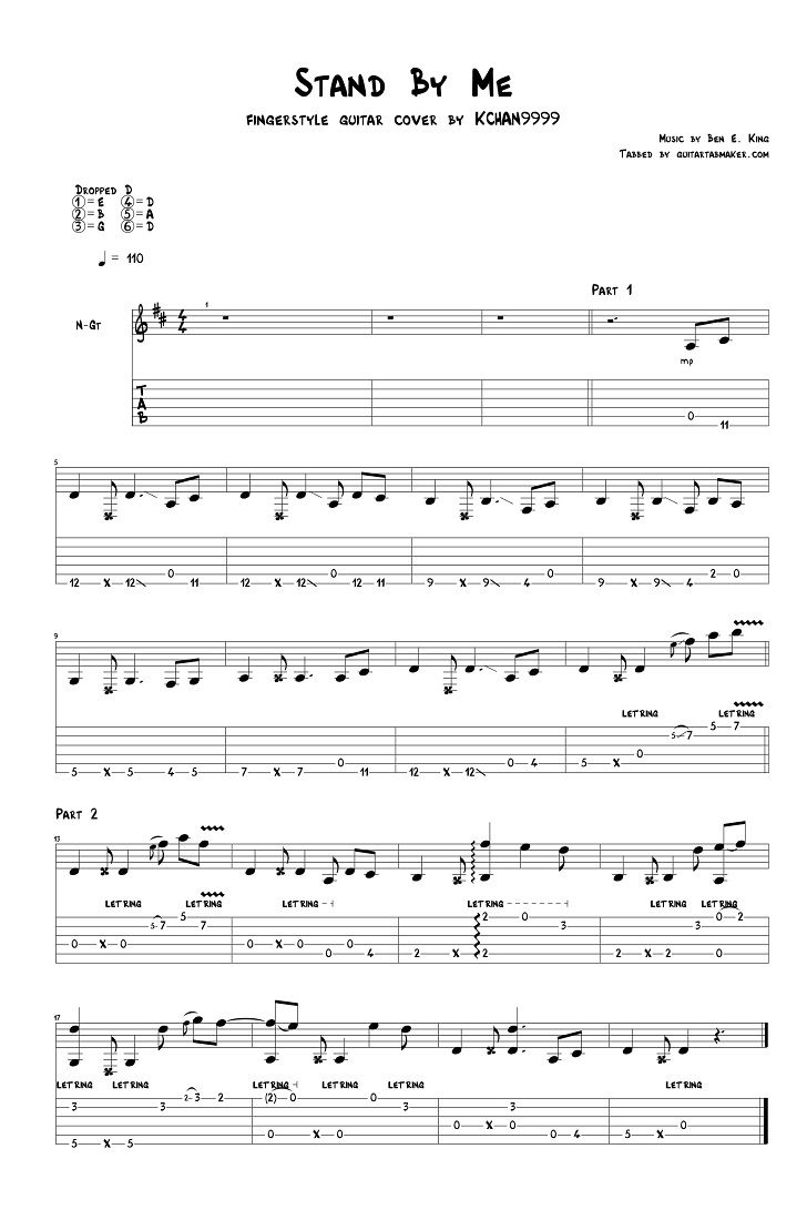 Ben E. King - Stand By Me fingerstyle guitar tab - pdf guitar sheet music - guitar pro tab download