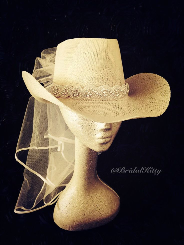 Country Bachelorette Party Western Cowgirl Hat Veil Crystal Headband Tiara Crown Bridal Shower White Bride To Be Hen Party Texas Wedding by BridalKitty1 on Etsy https://www.etsy.com/listing/255588240/country-bachelorette-party-western