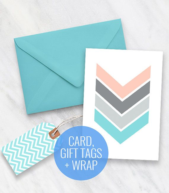 Printable Card Gift Tags and Gift Wrapping Set  Chevron