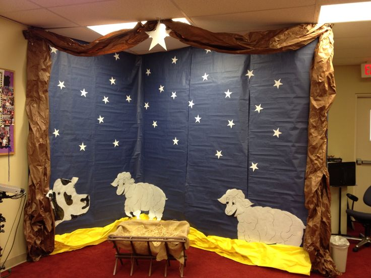 Backdrop for our family nativity photo booth.  Families grabbed a costume out of the box and posed for a picture in our photo booth.  It was fun!