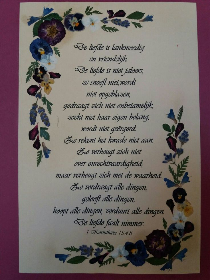 Picture with pressed flowers and Bible verse 1Corinthians 13: 4-8 in Dutch language. Gift for a friend.
