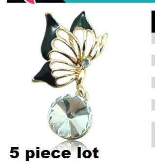5X pcs lot Small butterfly with crystal alloy diy bling phone deco etc | chriszcoolstuff - Craft Supplies on ArtFire