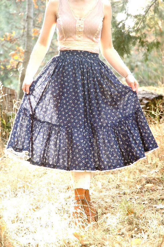 Gunne Sax Style Prairie Skirt// 1970s Calico Skirt// by AstralBoutique, $38.00