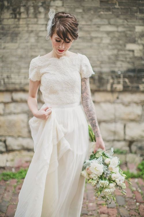 Wedding Inspiration short sleeved wedding dress
