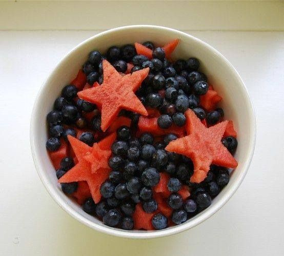Simple - a bowl of blueberries and star watermelons (cut with a cookie/ biscuit cutter)