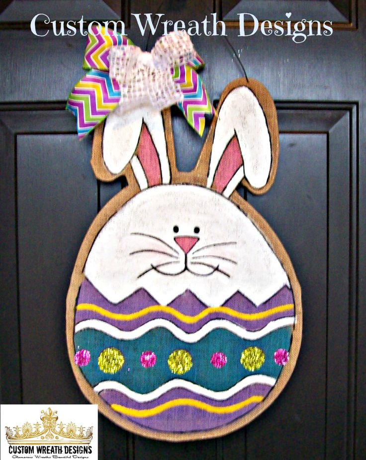 A personal favorite from my Etsy shop https://www.etsy.com/listing/178349755/burlap-easter-bunny-egg-door-hanging