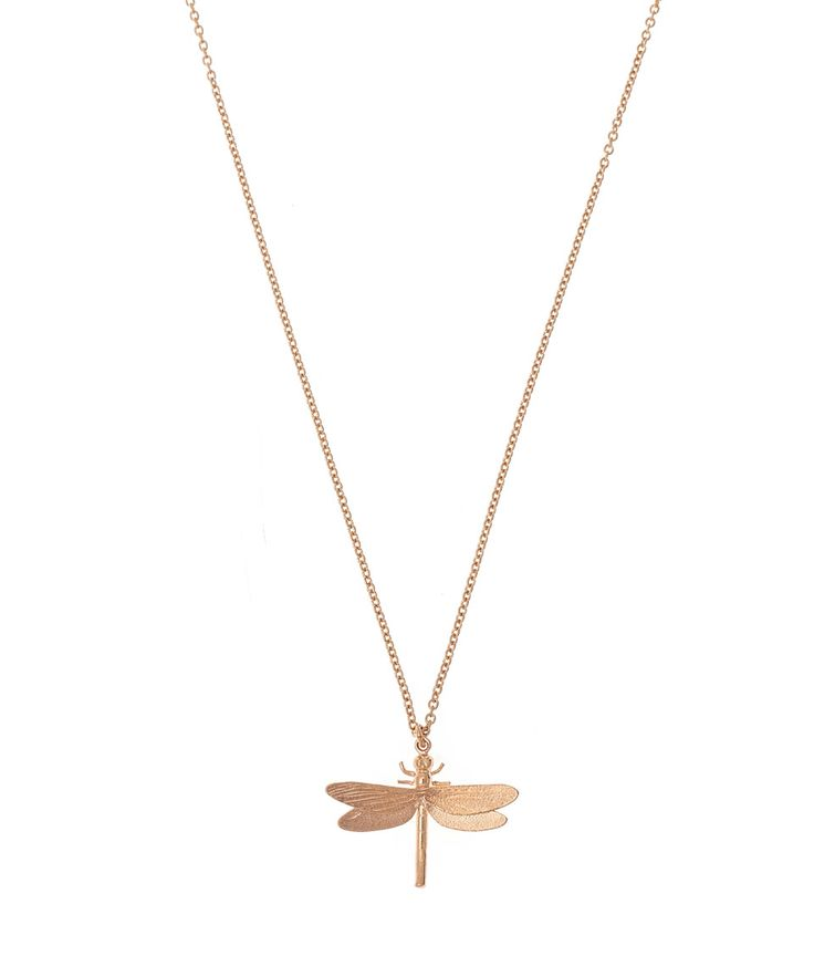 Alex Monroe Rose Gold Vermeil Dragonfly Necklace | Jewellery | Liberty.co.uk