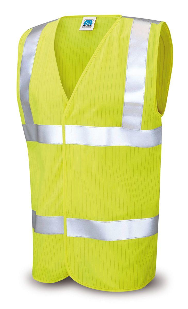 @marcaproteccion Chaleco alta visibilidad IGNIFUGO Y ANTIESTATICO Certificado en clase 2 para alta visibilidad según la EN20471, y según las normas EN1149-5 (Ropa de Protección antiestática) y la EN14116 (Ropa de Protección para trabajos expuestos al calor y la llama). Confeccionado en un tejido de alto rendimiento, muy duradero pero de tacto muy suave que proporciona, junto con su diseño ergonómico, una comodidad excepcional al usuario.
