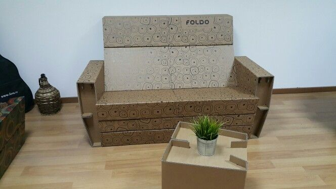 Foldo DOUBLE SEATER - cardboard couch from 2 carboard armchairs
