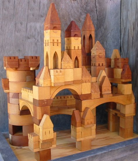 """ Handmade wooden toy Castle building blocks """