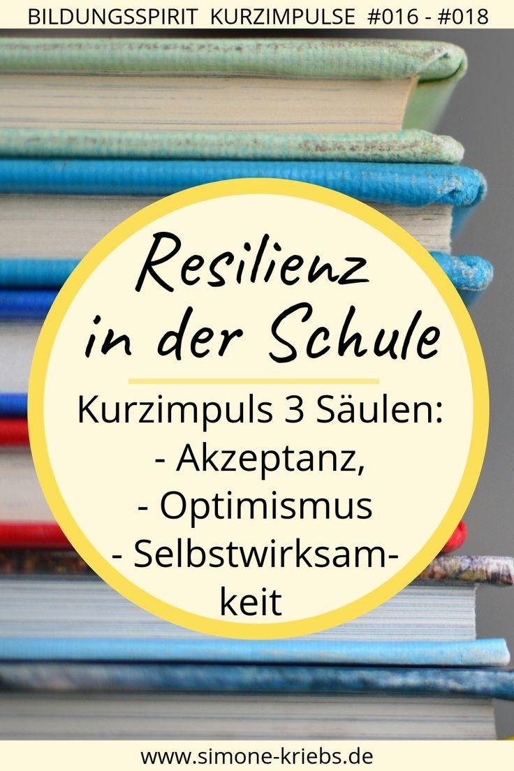 Resilienz in der Schule – Akzeptanz, Optimismus, Selbstwirksamkeit (Kurzimpuls 3 Säulen)