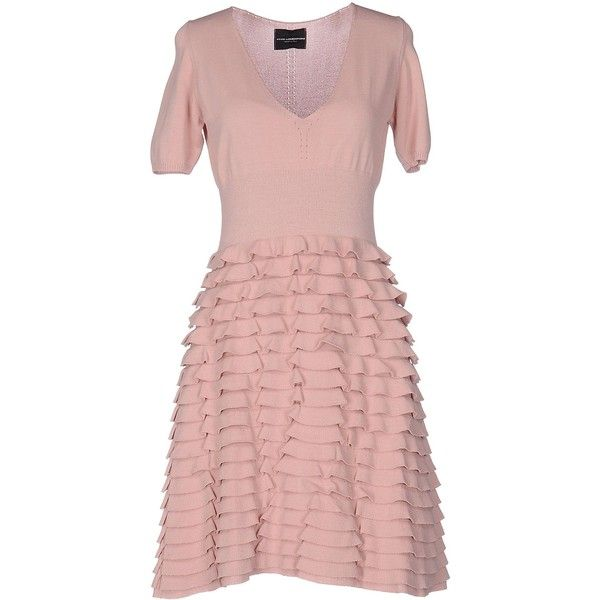 Atos Lombardini Short Dress ($78) ❤ liked on Polyvore featuring dresses, pastel pink, pink ruffle dress, short sleeve dress, mini dress, v neck short sleeve dress and short pink dress