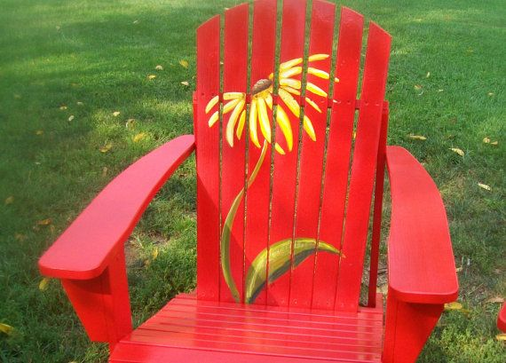 Wow! This beautiful set of hand painted Adirondack Chairs are sure to add some spice to your garden. Painted in a bold red with a bright, eye-catching yellow daisy. These are sure to be a conversation piece and beautiful accent you any lawn or front porch.    Each piece is make of solid fir wood. They are then primed and painted with exterior paint. The detail work is done with acrylic paint and them sealed with a clear exterior sealant.    Custom orders are welcome. Please message me to…