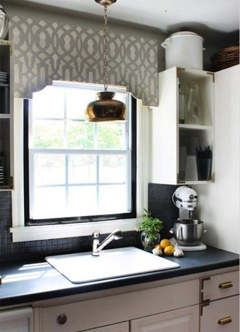 Stenciled valance for a kitchen window