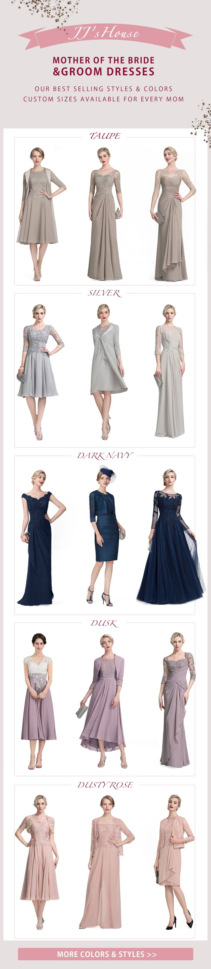 Find the perfect mother of the bride / mother of the groom dress for your child's special day! Look your best with elegant evening dresses in all colors, lengths, and styles, custom-made for a gorgeous fit.