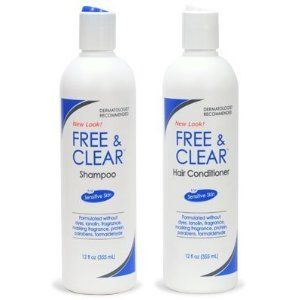 Free and Clear Shampoo and Conditioner. $18. I love this stuff! My hair feels and looks clean and has absolutely no smell.  A lot of fragrance free shampoos have a chemical-like smell. Not this one! It doesn't help at all with dandruff though.