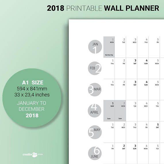 2018 Wall Planner Australia Holidays PRINTABLE Large Calendar