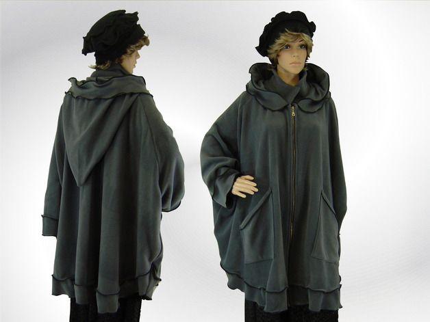 Jacken - LAGENLOOK Fleece Cape Poncho Jacke Mantel - ein Designerstück von poseercosido bei DaWanda